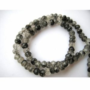 Shop Rutilated Quartz Faceted Beads! 5-5.5mm Rutilated Quartz Faceted Rondelle Beads, Black Rutile Quartz Faceted Beads, Rutile Quartz Beads For Jewelry, 13 Inch Rutile Quartz | Natural genuine faceted Rutilated Quartz beads for beading and jewelry making.  #jewelry #beads #beadedjewelry #diyjewelry #jewelrymaking #beadstore #beading #affiliate #ad