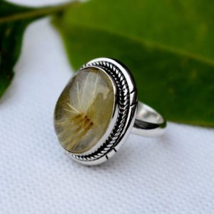 Shop Rutilated Quartz Rings! African Golden Ring,Yellow Rutile Quartz Ring,November Birthstone,Solid 925 Sterling Silver Ring,Rutilated Quartz Ring,Rutile Ring,Boho ring | Natural genuine Rutilated Quartz rings, simple unique handcrafted gemstone rings. #rings #jewelry #shopping #gift #handmade #fashion #style #affiliate #ad