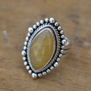 Shop Rutilated Quartz Rings! Rutilated Quartz  Ring,Solid 925 Stering Silver Designer Women's Ring,Natural Yellow Rutile Ring,Handmade Jewelry,Girls for her,Rutile Ring | Natural genuine Rutilated Quartz rings, simple unique handcrafted gemstone rings. #rings #jewelry #shopping #gift #handmade #fashion #style #affiliate #ad