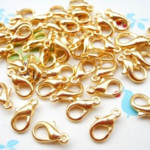 Shop Clasps for Making Jewelry! Sale– 200pcs Gold Plated Iron Lobster Claw Clasp Lobster Clasp 10mmX5mm | Shop jewelry making and beading supplies, tools & findings for DIY jewelry making and crafts. #jewelrymaking #diyjewelry #jewelrycrafts #jewelrysupplies #beading #affiliate #ad