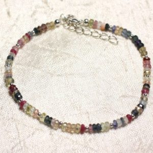 Shop Sapphire Bracelets! Bracelet 925 sterling silver and stone – multicolor Sapphire faceted Rondelles 3mm | Natural genuine Sapphire bracelets. Buy crystal jewelry, handmade handcrafted artisan jewelry for women.  Unique handmade gift ideas. #jewelry #beadedbracelets #beadedjewelry #gift #shopping #handmadejewelry #fashion #style #product #bracelets #affiliate #ad