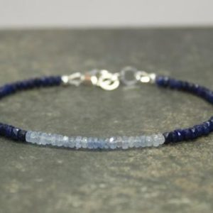 Shop Sapphire Bracelets! Sapphire Ombre Bracelet, Shaded, Sapphire Jewelry, September Birthstone, Something Blue, Gemstone Bracelet | Natural genuine Sapphire bracelets. Buy crystal jewelry, handmade handcrafted artisan jewelry for women.  Unique handmade gift ideas. #jewelry #beadedbracelets #beadedjewelry #gift #shopping #handmadejewelry #fashion #style #product #bracelets #affiliate #ad