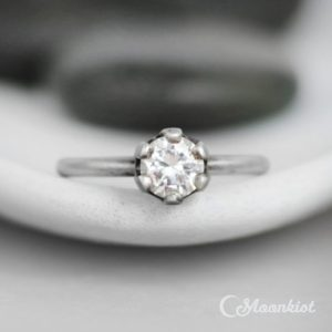 Crown Engagement Ring, Sterling Silver White Sapphire Engagement Ring, Diamond Alternative, Solitaire Ring | Moonkist Designs | Natural genuine Array rings, simple unique alternative gemstone engagement rings. #rings #jewelry #bridal #wedding #jewelryaccessories #engagementrings #weddingideas #affiliate #ad