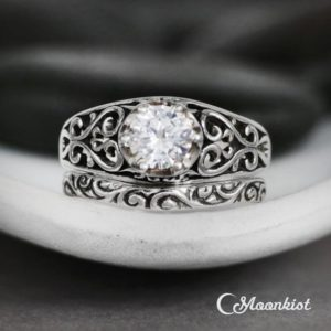 Filigree White Sapphire Engagement Ring – Curved Wedding Band – Sterling Silver Vintage-Style Sapphire Wedding Ring Set -Diamond Alternative | Natural genuine Sapphire rings, simple unique alternative gemstone engagement rings. #rings #jewelry #bridal #wedding #jewelryaccessories #engagementrings #weddingideas #affiliate #ad