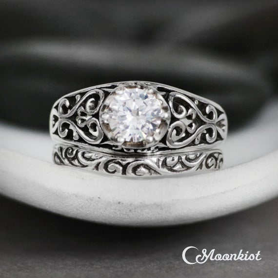 Filigree White Sapphire Engagement Ring, Curved Wedding Band, Sterling Silver Vintage-style Sapphire Wedding Ring Set, Diamond Alternative