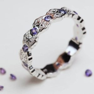 Shop Sapphire Rings! Purple Sapphire Ring, White Gold Ring, Art Deco Ring, Sapphire Wedding Band, Purple Sapphires, Lace Ring, Sapphire Gold Ring, Purple | Natural genuine Sapphire rings, simple unique alternative gemstone engagement rings. #rings #jewelry #bridal #wedding #jewelryaccessories #engagementrings #weddingideas #affiliate #ad