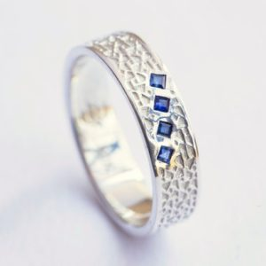 Shop Sapphire Rings! Square Sapphire Ring, Unique Mens Wedding Band, Blue Sapphire White Gold Ring, White Gold Mens Wedding Band, Blue Sapphire Jewelry | Natural genuine Sapphire rings, simple unique alternative gemstone engagement rings. #rings #jewelry #bridal #wedding #jewelryaccessories #engagementrings #weddingideas #affiliate #ad