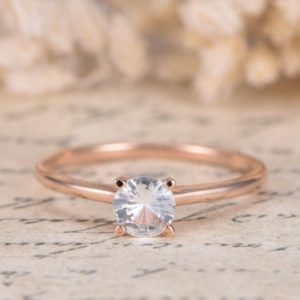 VS Natural White Sapphire Ring 14K Rose Gold Sapphire Engagement Ring Art Deco Wedding Band Plain Band Simple Wedding Ring Anniversary Ring | Natural genuine Array rings, simple unique alternative gemstone engagement rings. #rings #jewelry #bridal #wedding #jewelryaccessories #engagementrings #weddingideas #affiliate #ad