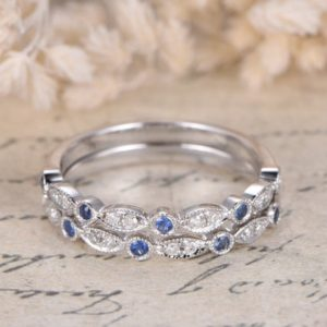 Shop Sapphire Rings! Sapphire Wedding Band Set Half Eternity Band Sapphire Rings Milgrain Band Wedding Ring Marquise Ring 14K White Gold Bridal Ring Set 2pcs | Natural genuine Sapphire rings, simple unique alternative gemstone engagement rings. #rings #jewelry #bridal #wedding #jewelryaccessories #engagementrings #weddingideas #affiliate #ad