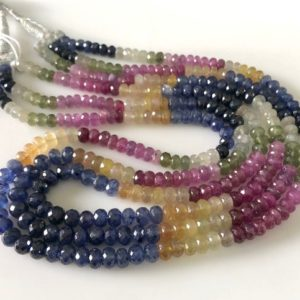 "Shop Sapphire Rondelle Beads! 7mm Multi Sapphire Faceted Rondelle Beads Multi Sapphire Necklace Multi Sapphire Loose For Bracelet Earrings Sold As 18""/19""/20"" GDS1687 