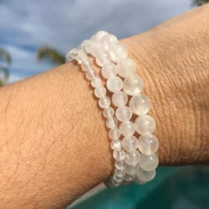 Selenite 4mm, 6mm, 8mm or 10mm beaded intention bracelet, healing jewelry – protection, guardians, dispels negative energy | Natural genuine Selenite bracelets. Buy crystal jewelry, handmade handcrafted artisan jewelry for women.  Unique handmade gift ideas. #jewelry #beadedbracelets #beadedjewelry #gift #shopping #handmadejewelry #fashion #style #product #bracelets #affiliate #ad