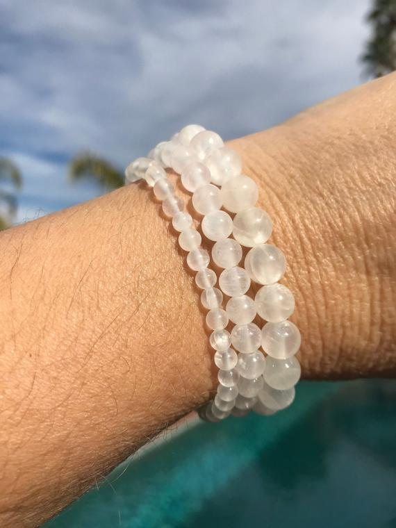 Selenite 4mm, 6mm, 8mm Or 10mm Beaded Intention Bracelet, Healing Jewelry - Protection, Guardians, Dispels Negative Energy