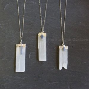 4th of July SALE / Selenite Necklace / Raw Selenite Necklace / Selenite Pendant / Silver Kyanite Necklace / Silver Selenite Necklace | Natural genuine Selenite necklaces. Buy crystal jewelry, handmade handcrafted artisan jewelry for women.  Unique handmade gift ideas. #jewelry #beadednecklaces #beadedjewelry #gift #shopping #handmadejewelry #fashion #style #product #necklaces #affiliate #ad