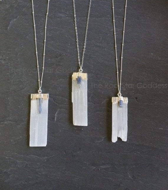 4th Of July Sale / Selenite Necklace / Raw Selenite Necklace / Selenite Pendant / Silver Kyanite Necklace / Silver Selenite Necklace
