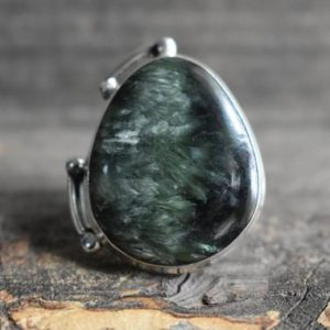 Shop Seraphinite Rings! big natural green seraphinite ring,925 silver ring,natural seraphinite ring,seraphinite ring,green seraphinite ring,drop shape ring   Natural genuine Seraphinite rings, simple unique handcrafted gemstone rings. #rings #jewelry #shopping #gift #handmade #fashion #style #affiliate #ad
