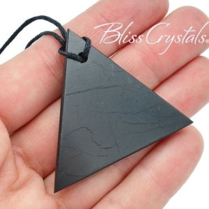 Shop Shungite Pendants! Shungite Triangle Pendant w/ Cord for protection from EMF Healing Crystal and Stone #ST59 | Natural genuine Shungite pendants. Buy crystal jewelry, handmade handcrafted artisan jewelry for women.  Unique handmade gift ideas. #jewelry #beadedpendants #beadedjewelry #gift #shopping #handmadejewelry #fashion #style #product #pendants #affiliate #ad