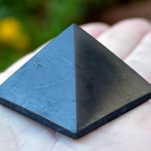 Shop Shungite Shapes! Shungite Pyramid – Protective Crystal Pyramid – 30mm Healing Pyramid – EMF Protection – Polished Shungite | Natural genuine stones & crystals in various shapes & sizes. Buy raw cut, tumbled, or polished gemstones for making jewelry or crystal healing energy vibration raising reiki stones. #crystals #gemstones #crystalhealing #crystalsandgemstones #energyhealing #affiliate #ad