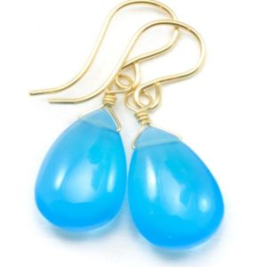 Shop Blue Chalcedony Earrings! Sky Blue Chalcedony Earrings Teardrop Pear Smooth 14k Solid Gold or Filled or Sterling Silver Blue Simple Drops Unique Spyglass Designs | Natural genuine Blue Chalcedony earrings. Buy crystal jewelry, handmade handcrafted artisan jewelry for women.  Unique handmade gift ideas. #jewelry #beadedearrings #beadedjewelry #gift #shopping #handmadejewelry #fashion #style #product #earrings #affiliate #ad