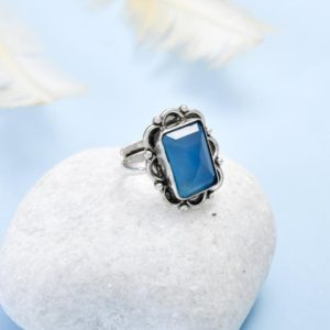 Shop Blue Chalcedony Rings! sky blue chalcedony Ring,925 Sterling Silver,vintage,silver jewellery,Natural gemstone ring,boho ring,statement ring,bridesmaid Ring,b'gift, | Natural genuine Blue Chalcedony rings, simple unique handcrafted gemstone rings. #rings #jewelry #shopping #gift #handmade #fashion #style #affiliate #ad
