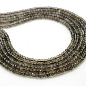 """Shop Smoky Quartz Faceted Beads! Aa Grade Smoky Quartz Beads, brown Beads, gemstone Beads, faceted Rondelles Beads, natural Stone Beads – 16"""" Full Strand 