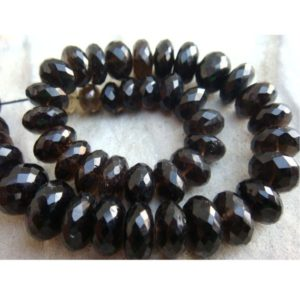 Shop Smoky Quartz Faceted Beads! Smoky Quartz Micro Faceted Rondelles – 12mm To 7mm Beads- 40 Pieces Approx – 9 Inches Full Strand | Natural genuine faceted Smoky Quartz beads for beading and jewelry making.  #jewelry #beads #beadedjewelry #diyjewelry #jewelrymaking #beadstore #beading #affiliate #ad