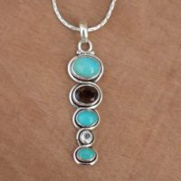 Tibetan, smokey Quartz, crystal Pendant, handmade Jewelry, tibetan Turquoise Girls Pendant, solid 925 Sterling Silver Multi Necklace, perfect Gift | Natural genuine Gemstone jewelry. Buy crystal jewelry, handmade handcrafted artisan jewelry for women.  Unique handmade gift ideas. #jewelry #beadedjewelry #beadedjewelry #gift #shopping #handmadejewelry #fashion #style #product #jewelry #affiliate #ad