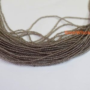 "Shop Smoky Quartz Beads! 15.5"" Smoky quartz 2mm round beads, Smoky color gemstone DIY beads, small semi-precious stone 