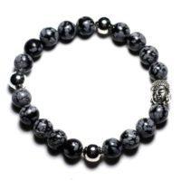 Semi Precious – Speckled 8mm Snowflake Obsidian Stone And Buddha Bracelet | Natural genuine Gemstone jewelry. Buy crystal jewelry, handmade handcrafted artisan jewelry for women.  Unique handmade gift ideas. #jewelry #beadedjewelry #beadedjewelry #gift #shopping #handmadejewelry #fashion #style #product #jewelry #affiliate #ad