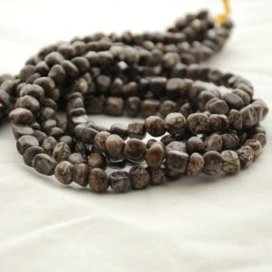 """Shop Snowflake Obsidian Chip & Nugget Beads! High Quality Grade A Natural Chinese Snowflake Obsidian Semi-precious Gemstone Pebble Tumbled Stone Nugget Beads – 5mm – 8mm – 15"""" Strand 
