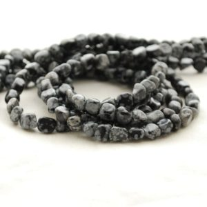 """Shop Snowflake Obsidian Chip & Nugget Beads! High Quality Grade A Natural Snowflake Obsidian Semi-precious Gemstone Tumbled Stone Nugget Pebble Beads – Approx 5mm – 8mm – 15.5"""" Strand 