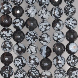 6MM Snowflake Obsidian Gemstone Faceted Round Loose Beads 15 inch Full Strand (80002017-A65) | Natural genuine faceted Snowflake Obsidian beads for beading and jewelry making.  #jewelry #beads #beadedjewelry #diyjewelry #jewelrymaking #beadstore #beading #affiliate #ad