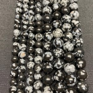 Shop Snowflake Obsidian Beads! Snowflake Obsidian Beads – Polished Gemstone Bead – 15in Strand 6mm 8mm Beads – High Quality Snowflake Obsidian – Snowflake Obsidian Strand | Natural genuine beads Snowflake Obsidian beads for beading and jewelry making.  #jewelry #beads #beadedjewelry #diyjewelry #jewelrymaking #beadstore #beading #affiliate #ad