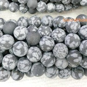 "Shop Snowflake Obsidian Beads! 15.5"" 6mm/8mm/10mm/12mm Matte Snowflake Obsidian round beads,black white semi-precious stone, frosted Snowflake Obsidian, jewelry supply 