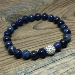 Sodalite bracelet – throat chakra | Natural genuine Gemstone bracelets. Buy crystal jewelry, handmade handcrafted artisan jewelry for women.  Unique handmade gift ideas. #jewelry #beadedbracelets #beadedjewelry #gift #shopping #handmadejewelry #fashion #style #product #bracelets #affiliate #ad