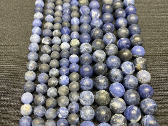 Sodalite Beads - Frosted Matte Sodalite Beads - 15in Strand 6mm 8mm Bead Sizes - Grade A Sodalite - Sodalite Strand - High Quality Sodalite