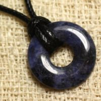 Stone – Sodalite Donut 20mm Pendant Necklace | Natural genuine Gemstone jewelry. Buy crystal jewelry, handmade handcrafted artisan jewelry for women.  Unique handmade gift ideas. #jewelry #beadedjewelry #beadedjewelry #gift #shopping #handmadejewelry #fashion #style #product #jewelry #affiliate #ad
