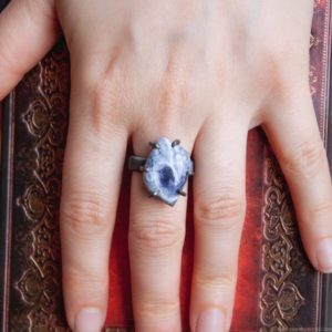 Shop Sodalite Rings! Sodalite ring size 7, Wire wrapped ring, thick band, Blue stone ring,birthstone rings for woman, Prong ring, Sodalite jewelry, woman gift   Natural genuine Sodalite rings, simple unique handcrafted gemstone rings. #rings #jewelry #shopping #gift #handmade #fashion #style #affiliate #ad