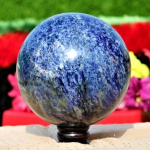 Shop Sodalite Shapes! Natural Blue Sodalite 200MM Chakra Stone Aura Healing Metaphysical Power Reiki Sphere Ball | Natural genuine stones & crystals in various shapes & sizes. Buy raw cut, tumbled, or polished gemstones for making jewelry or crystal healing energy vibration raising reiki stones. #crystals #gemstones #crystalhealing #crystalsandgemstones #energyhealing #affiliate #ad