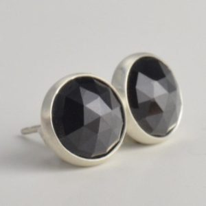 Shop Spinel Earrings! black spinel 8mm rose cut sterling silver stud earrings pair | Natural genuine Spinel earrings. Buy crystal jewelry, handmade handcrafted artisan jewelry for women.  Unique handmade gift ideas. #jewelry #beadedearrings #beadedjewelry #gift #shopping #handmadejewelry #fashion #style #product #earrings #affiliate #ad