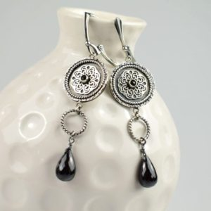 Shop Spinel Earrings! Long Black Earrings, Spinel Luxury Jewelry, Silver Gemstone Jewelry, Mandala Earrings | Natural genuine Spinel earrings. Buy crystal jewelry, handmade handcrafted artisan jewelry for women.  Unique handmade gift ideas. #jewelry #beadedearrings #beadedjewelry #gift #shopping #handmadejewelry #fashion #style #product #earrings #affiliate #ad