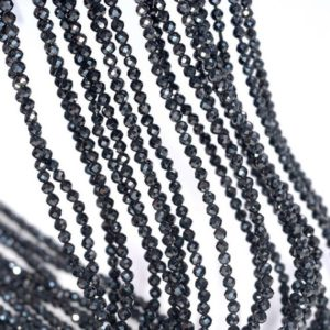 Shop Spinel Faceted Beads! 2mm Genuine Black Spinel Gemstone Micro Faceted Round Loose Beads 15.5 Inch Full Strand (80004732-107) | Natural genuine faceted Spinel beads for beading and jewelry making.  #jewelry #beads #beadedjewelry #diyjewelry #jewelrymaking #beadstore #beading #affiliate #ad
