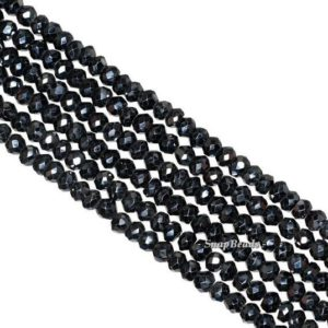 Shop Spinel Faceted Beads! 2x3mm-3x3mm Black Spinel Gemstone Grade A Faceted Rondelle Loose Beads 14 inch Full Strand (90187174-95) | Natural genuine faceted Spinel beads for beading and jewelry making.  #jewelry #beads #beadedjewelry #diyjewelry #jewelrymaking #beadstore #beading #affiliate #ad