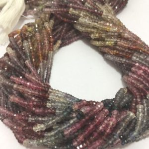 Shop Spinel Faceted Beads! On sale 3.5 mm Natural Multi Spinel Micro Faceted Rondelle Bead Strand / Gemstone Beads / Wholesale Multi Spinel Beads / Faceted Rondelle | Natural genuine faceted Spinel beads for beading and jewelry making.  #jewelry #beads #beadedjewelry #diyjewelry #jewelrymaking #beadstore #beading #affiliate #ad