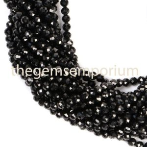 Shop Spinel Faceted Beads! Black Spinel Faceted Rondelle Beads, Black Spinel Faceted Beads, Black Spinel Rondelle Beads, Black Spinel Beads, Black Spinel (4mm) | Natural genuine faceted Spinel beads for beading and jewelry making.  #jewelry #beads #beadedjewelry #diyjewelry #jewelrymaking #beadstore #beading #affiliate #ad