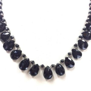"Shop Spinel Necklaces! Natural Faceted 16"" Necklace Black Spinel Almond Beads Necklace Gemstone Beads 