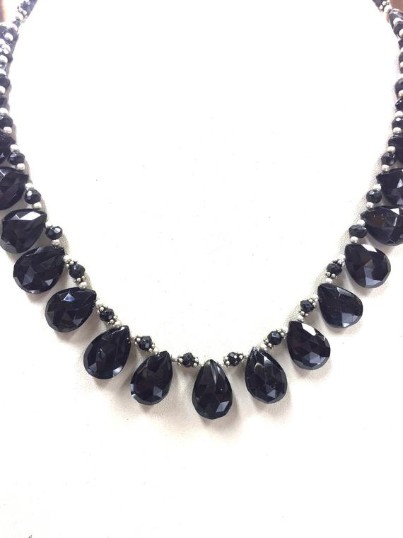 "Natural Faceted 16"" Necklace Black Spinel Almond Beads Necklace Gemstone Beads"