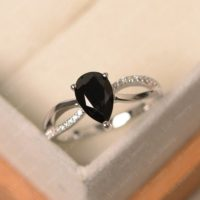 Black Spinel Ring, Pear Cut Black Gemstone Ring, Sterling Silver Anniversary Ring | Natural genuine Gemstone jewelry. Buy crystal jewelry, handmade handcrafted artisan jewelry for women.  Unique handmade gift ideas. #jewelry #beadedjewelry #beadedjewelry #gift #shopping #handmadejewelry #fashion #style #product #jewelry #affiliate #ad