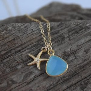 Shop Blue Chalcedony Necklaces! starfish & blue chalcedony necklace | beach themed wedding | birthday gift | gift for her | gift under 40 | ocean | blue stone necklace | Natural genuine Blue Chalcedony necklaces. Buy handcrafted artisan wedding jewelry.  Unique handmade bridal jewelry gift ideas. #jewelry #beadednecklaces #gift #crystaljewelry #shopping #handmadejewelry #wedding #bridal #necklaces #affiliate #ad
