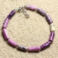 Bracelet 925 Sterling Silver And Stone – Sugilite Tubes 10x5mm | Natural genuine Gemstone jewelry. Buy crystal jewelry, handmade handcrafted artisan jewelry for women.  Unique handmade gift ideas. #jewelry #beadedjewelry #beadedjewelry #gift #shopping #handmadejewelry #fashion #style #product #jewelry #affiliate #ad