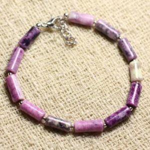 Bracelet 925 Sterling Silver And Stone – Sugilite Tubes 10x5mm | Natural genuine Sugilite bracelets. Buy crystal jewelry, handmade handcrafted artisan jewelry for women.  Unique handmade gift ideas. #jewelry #beadedbracelets #beadedjewelry #gift #shopping #handmadejewelry #fashion #style #product #bracelets #affiliate #ad